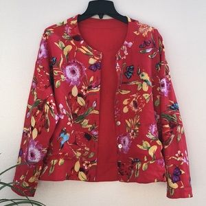 Reversible Linen Birds Butterfly Floral Print Red Jacket